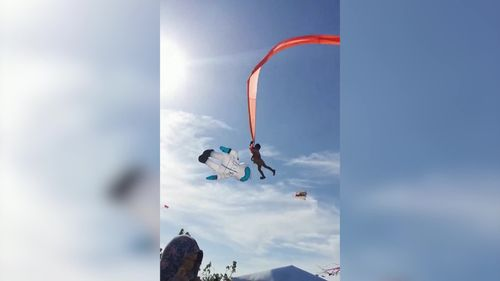Image for A child in Taiwan was caught in a kite and swept high into the air