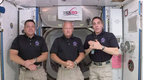 Image for NASA astronauts 'capture the flag' on the space station and look ahead after historic launch