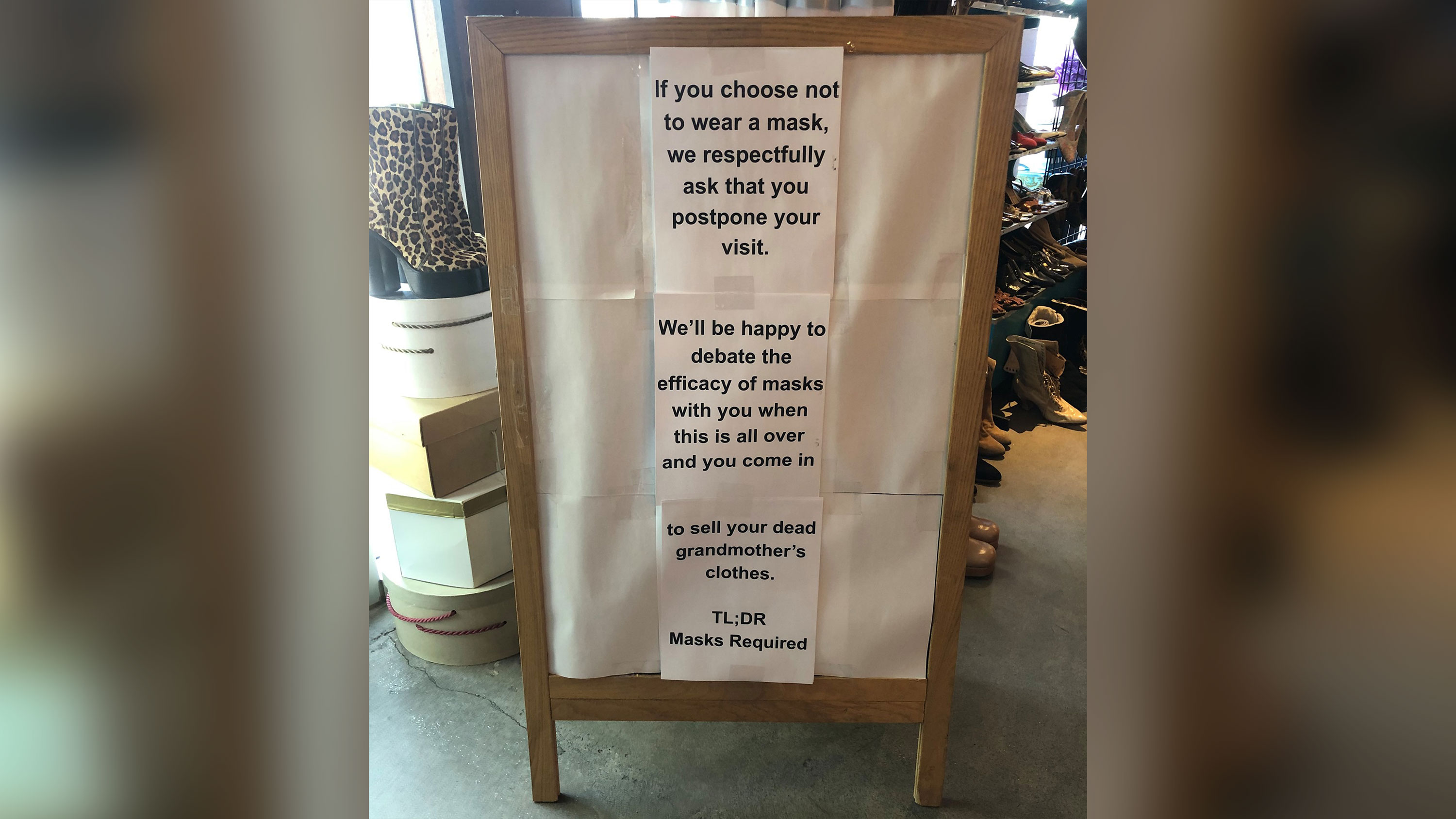A vintage clothing store isn't arguing with customers about wearing masks