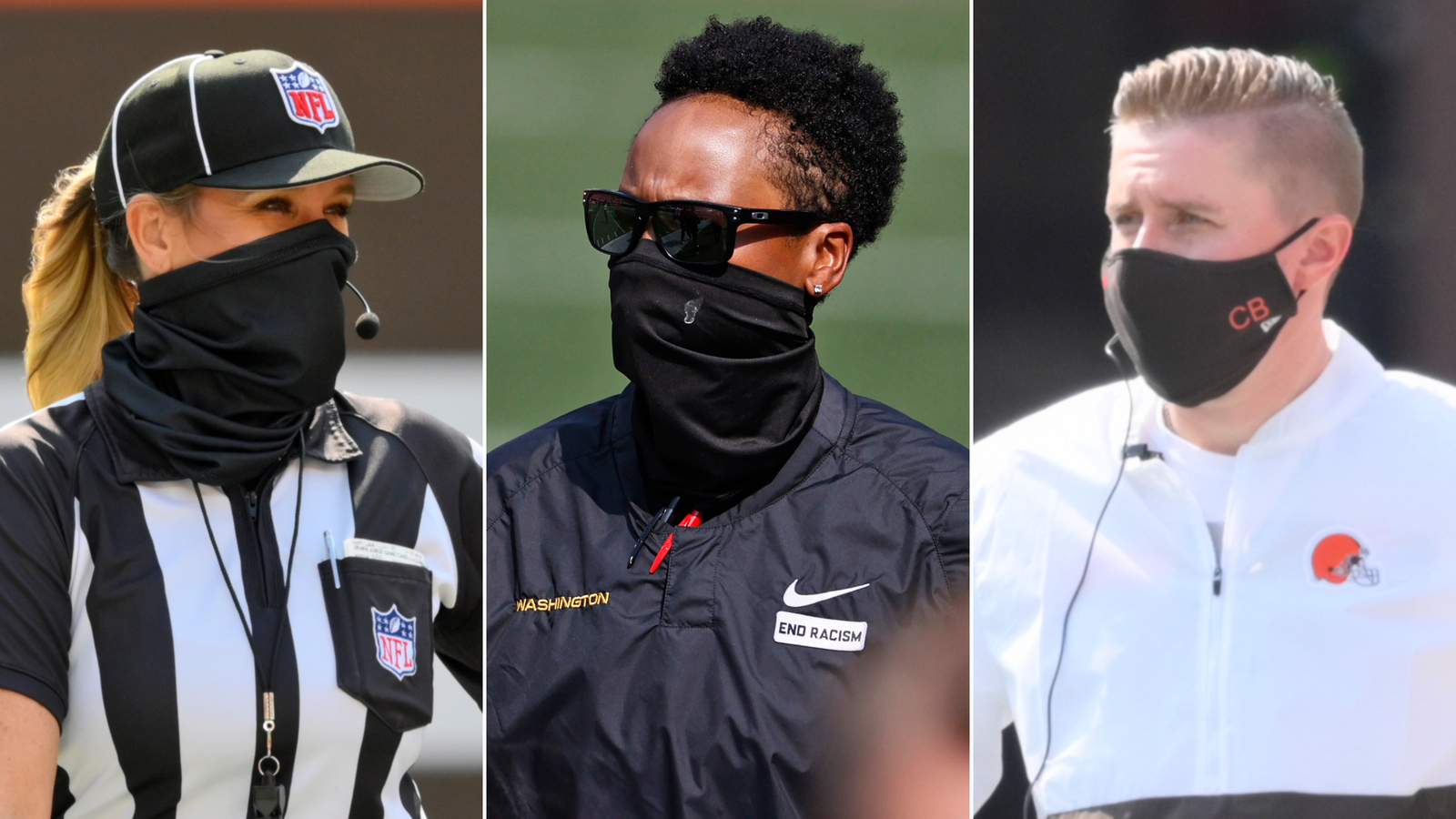 Two female coaches and a female official make NFL history by being on the field at the same time