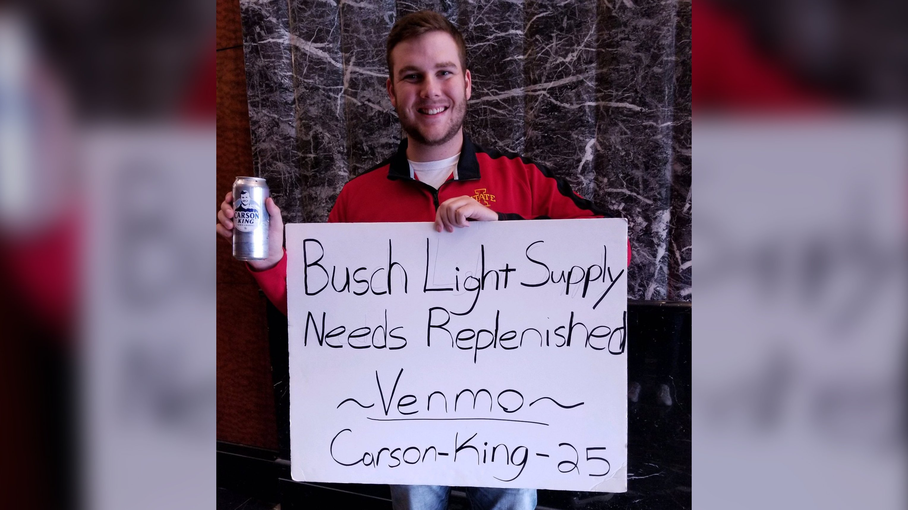 A college football fan's sign asking for beer money raised more than $1 million. He's giving it to charity