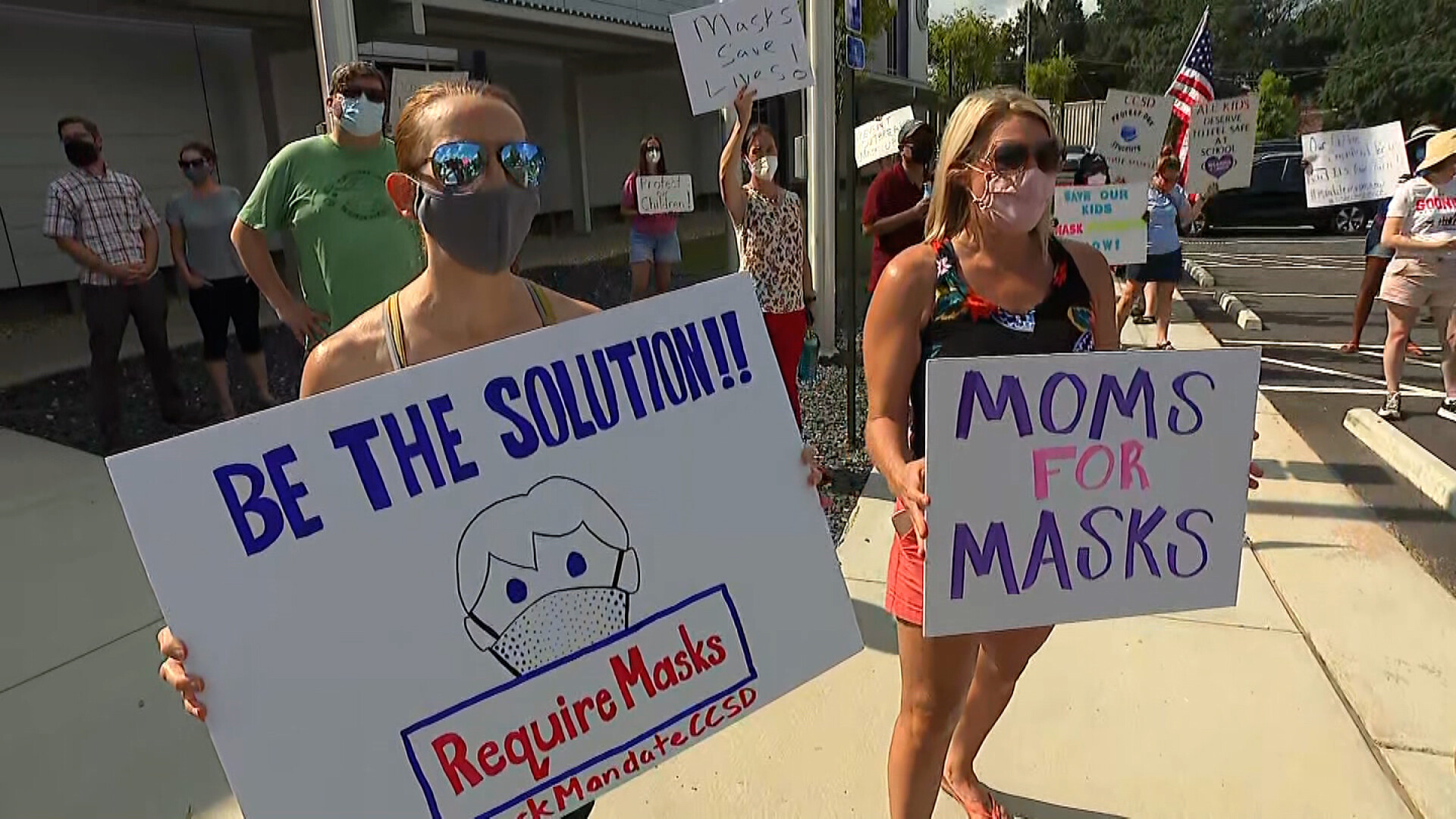 Parents clash at mask mandate protest in Georgia county where 5th graders were sent home