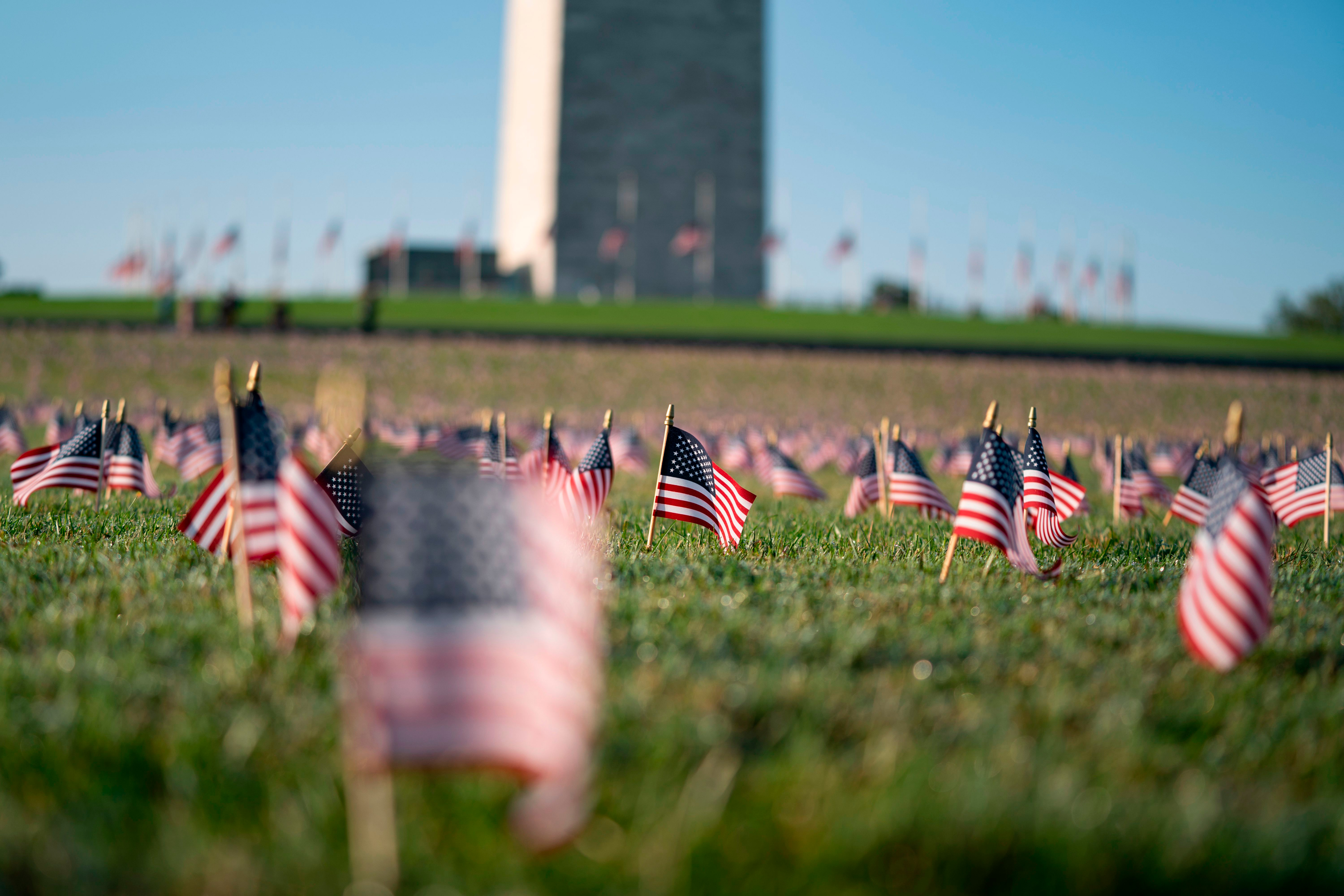 Twenty thousand flags placed on National Mall to memorialize Covid-19 deaths in the US
