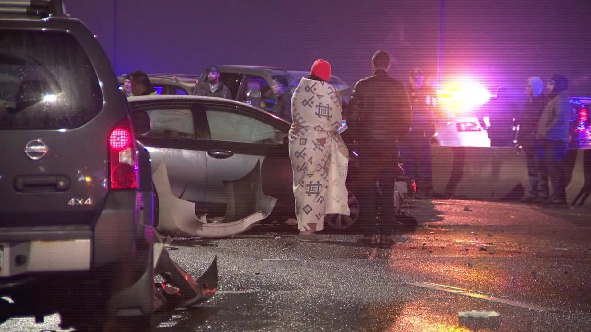 Bad weather is blamed for a pileup in Denver involving more than 50 vehicles