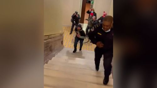 Image for Lawmakers want to award a Congressional Gold Medal to the Capitol Police officer who lured rioters away from the Senate chambers