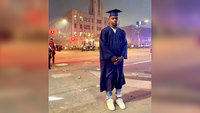 To make a different kind of statement, a high school grad went to a protest in the cap and gown he didn't get to wear