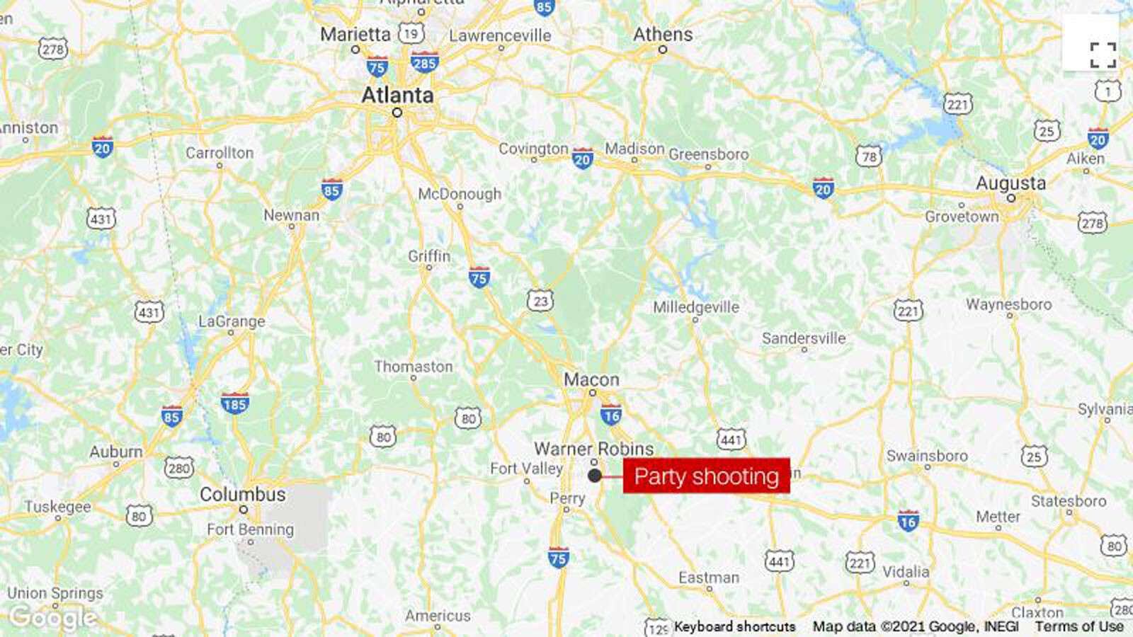A shooting at a party in Warner Robins, Georgia, left 1 dead and 4 hurt, police say
