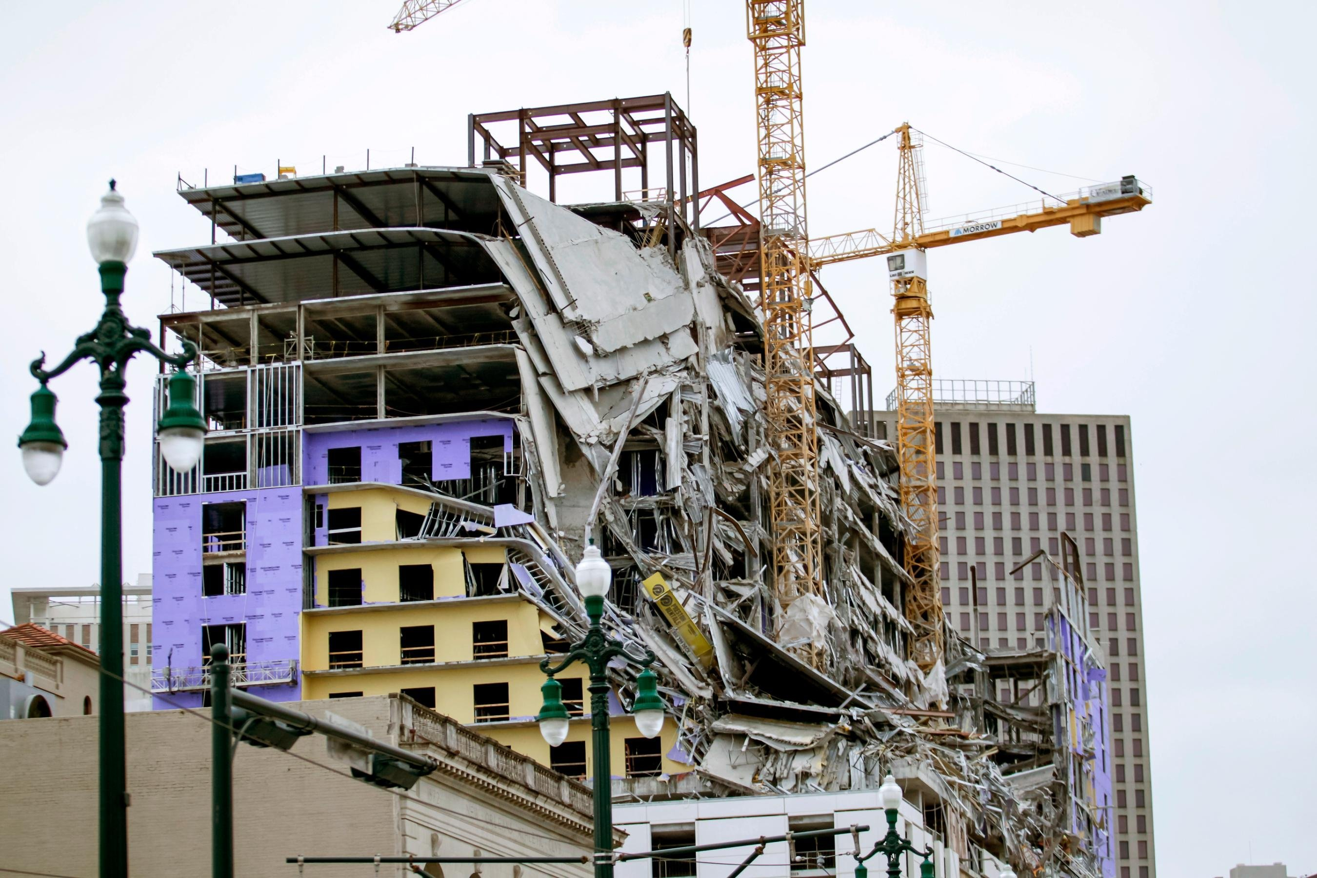Two cranes were demolished at the Hard Rock Hotel construction site in New Orleans
