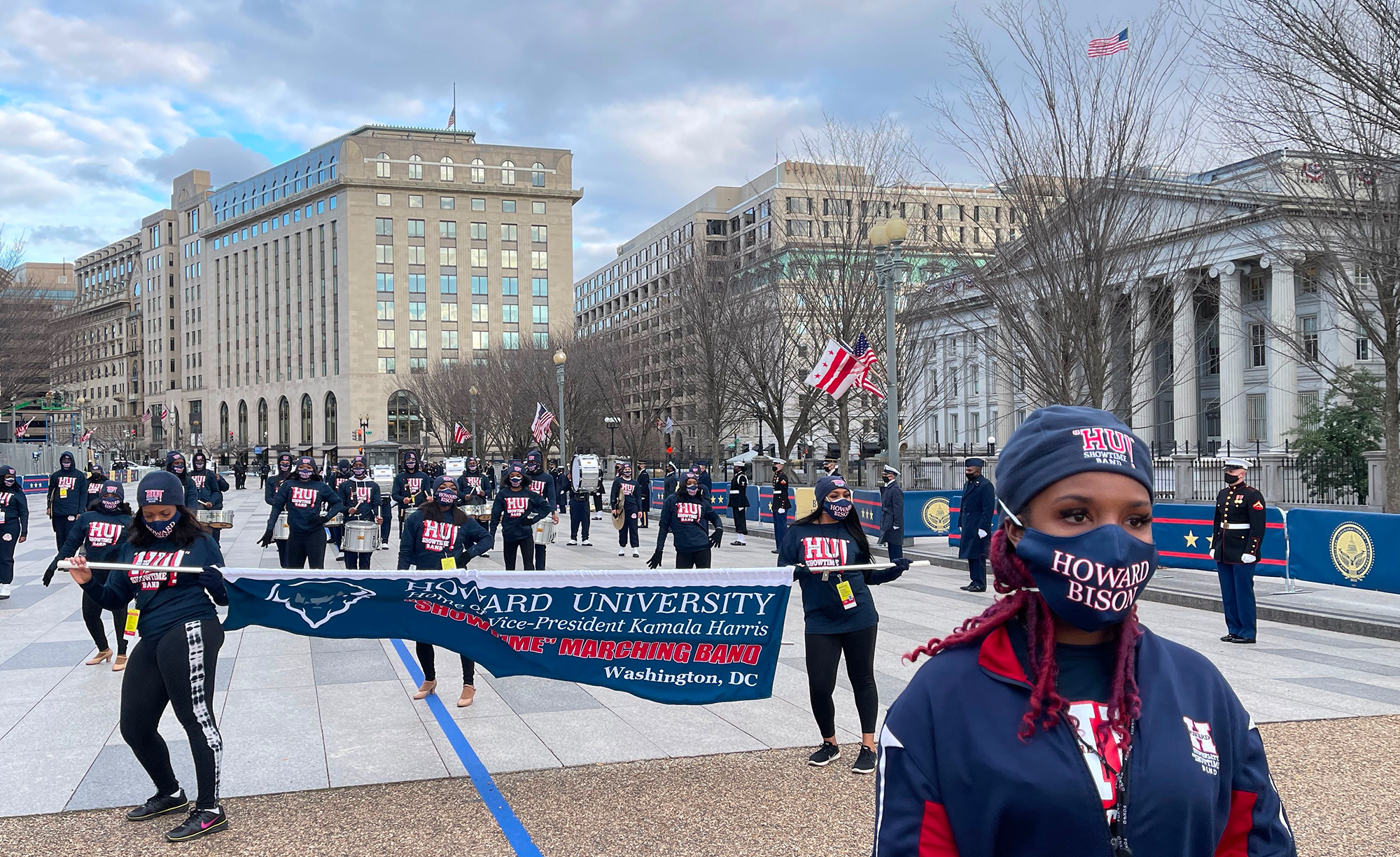 The Howard University marching band escorted Vice President Kamala Harris to the White House
