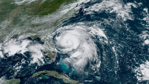 Image for Humberto strengthens to Category 1 hurricane after moving farther east into the Atlantic