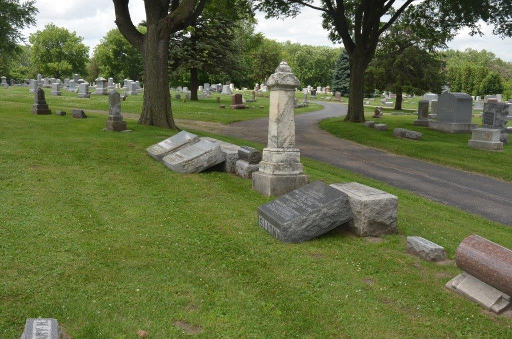 Cemetery in Iowa vandalized, 50 headstones knocked over