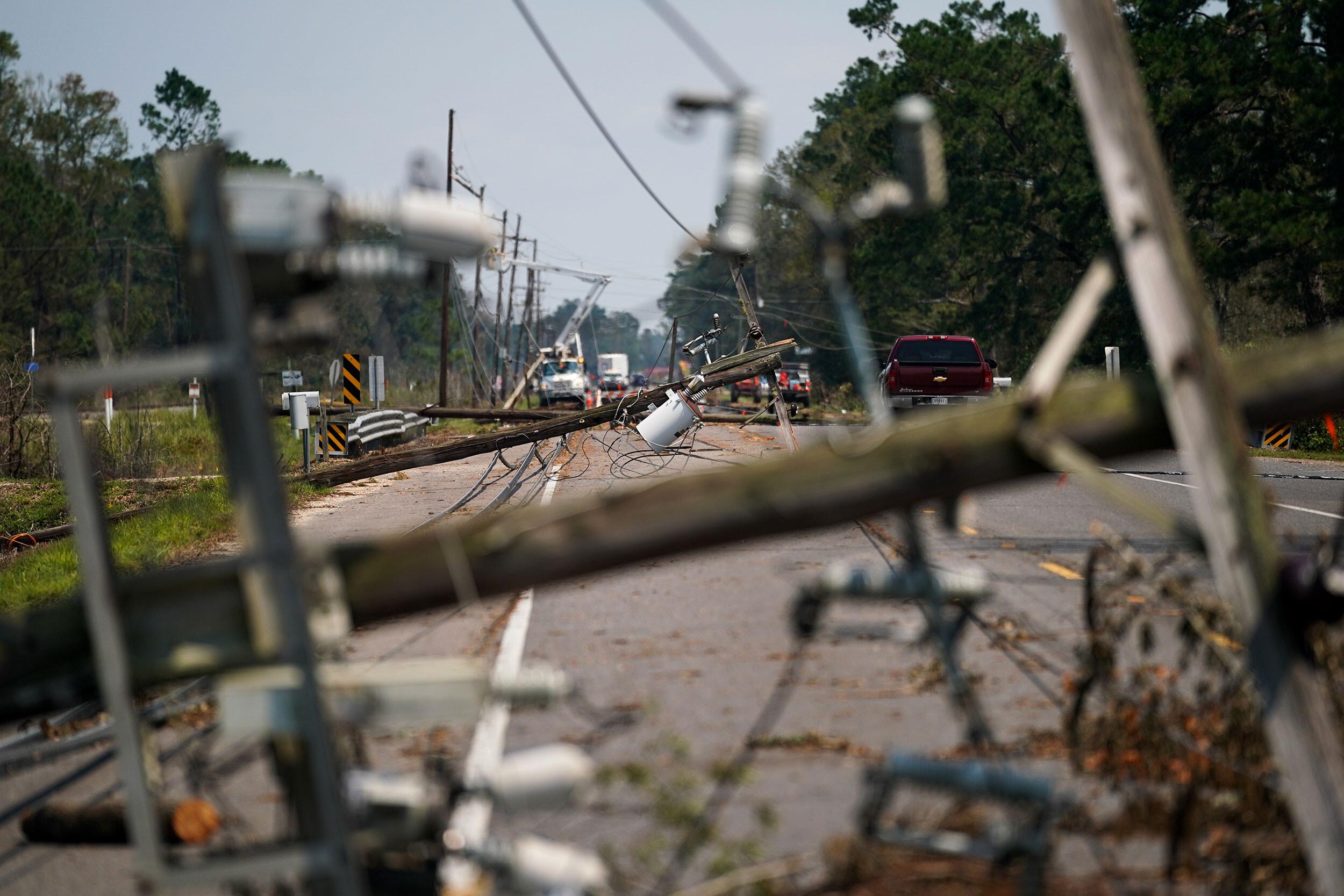 Hurricane Ida took down more power poles in 2 states than Katrina, Ike, Delta and Zeta combined, power company says