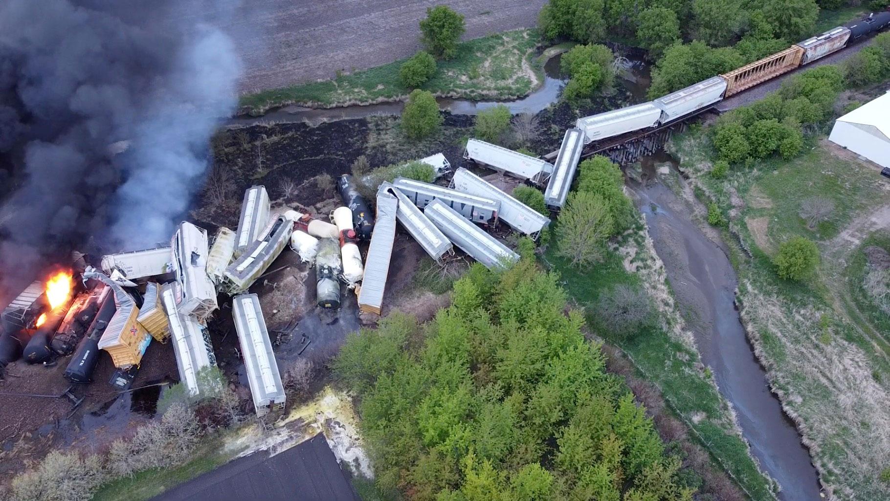 Train derailment and fire prompts evacuations in northwest Iowa