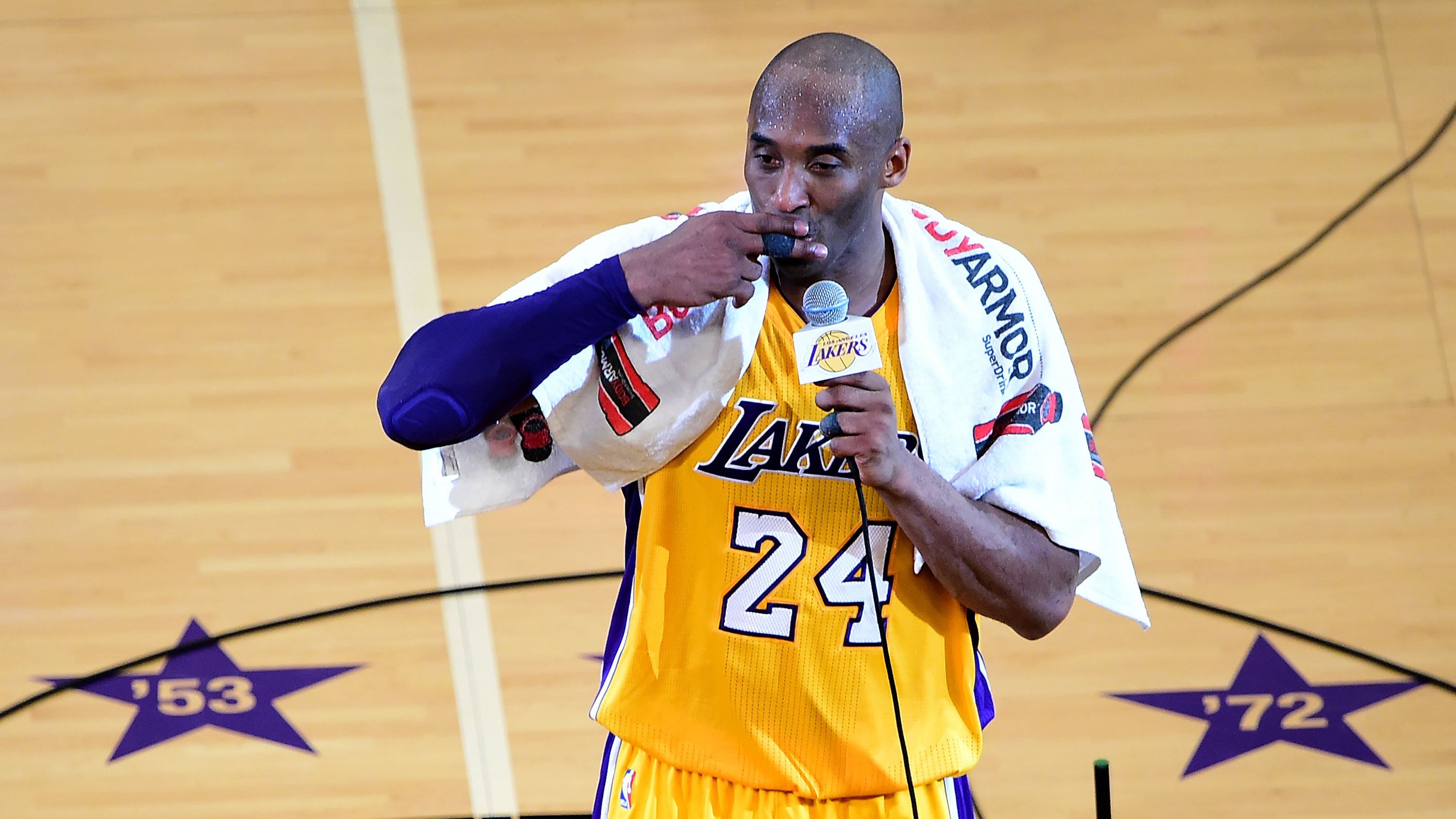 A towel Kobe Bryant wore during his farewell speech sold at an auction for over $30,000