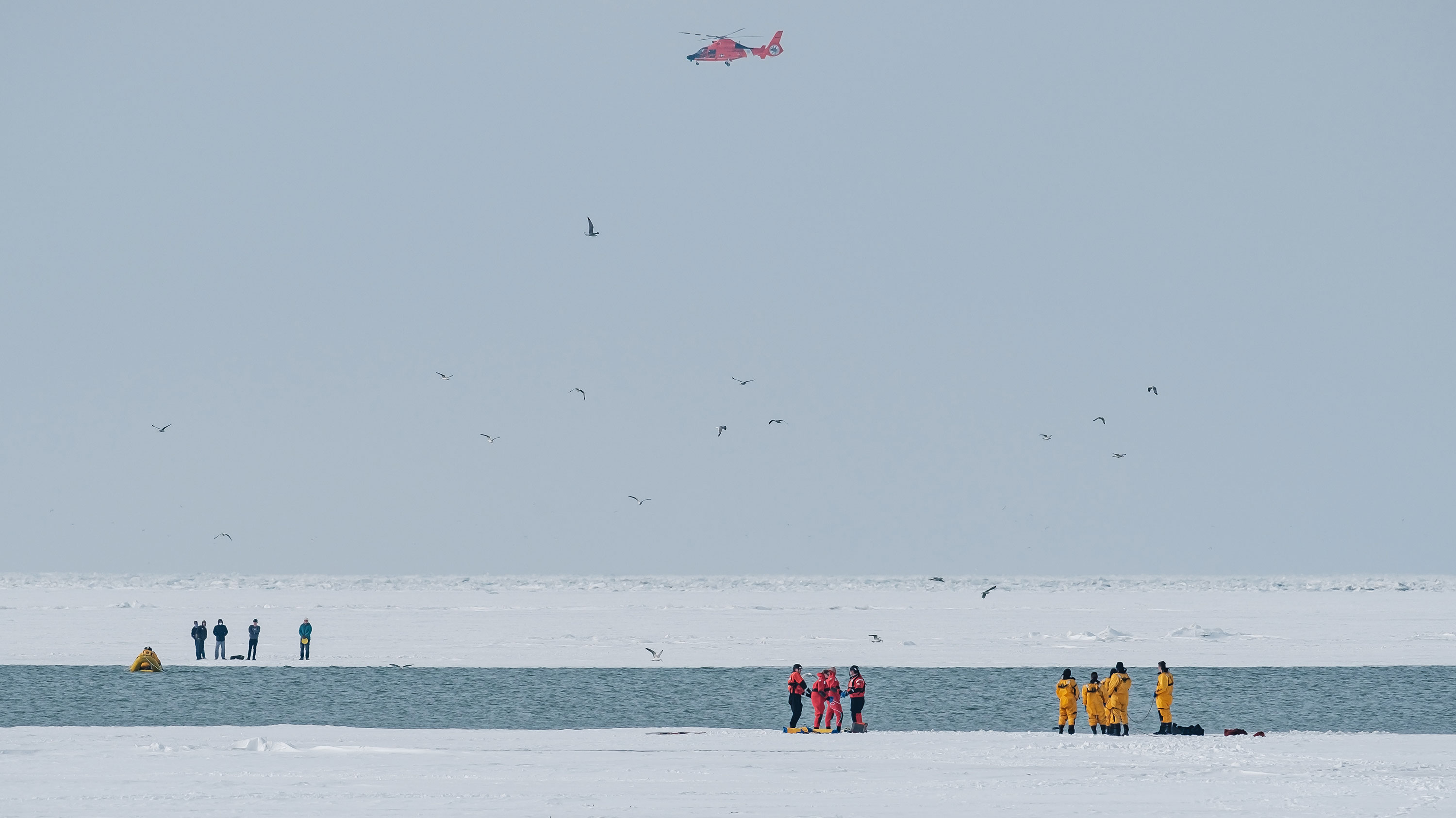 The Coast Guard rescued 10 people stranded on ice floes in Lake Erie