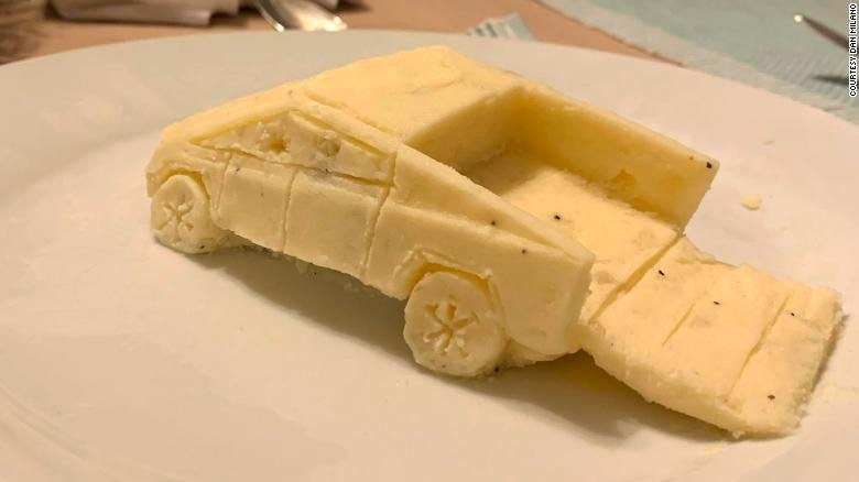 Guy who creates sculptures out of mashed potatoes recreated Tesla's Cybertruck at his family's Thanksgiving