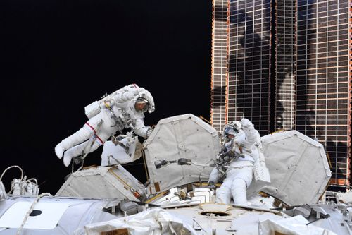 Image for NASA astronauts Victor Glover, Mike Hopkins conduct spacewalk Wednesday