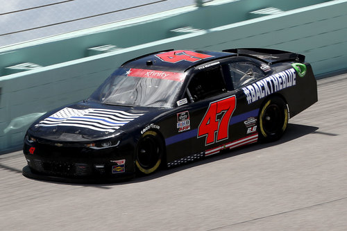 Image for A NASCAR driver raced in a 'Back the Blue' car in support of police