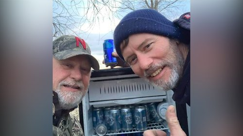 Image for Two men find a fridge full of ice-cold beers in Nebraska flooding devastation