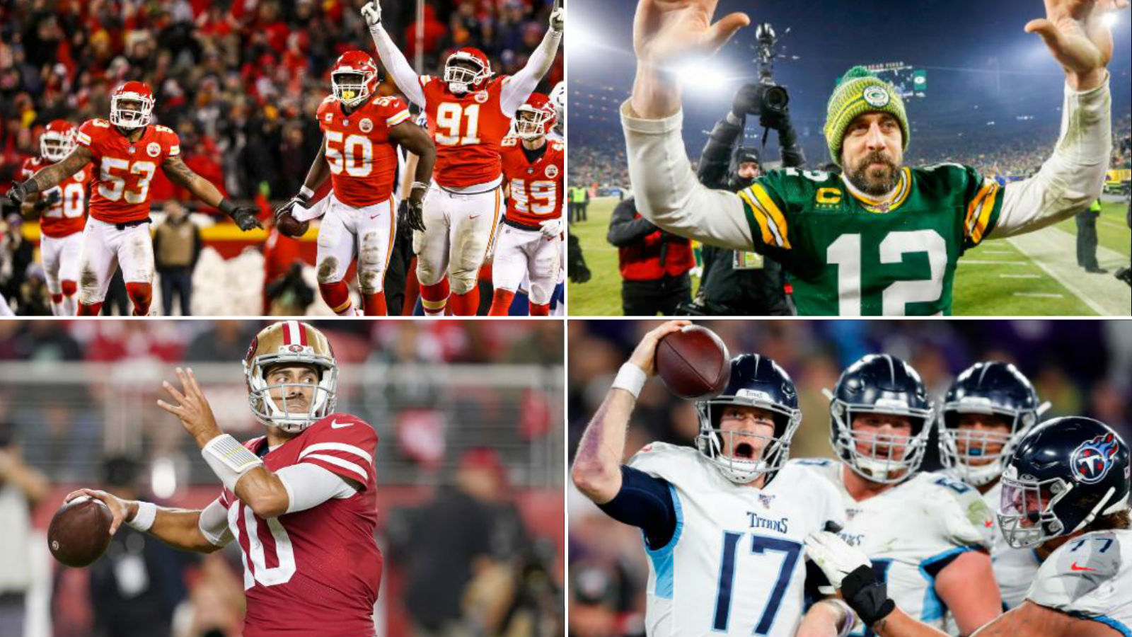 Four NFL teams square off to see who will play in Super Bowl LIV