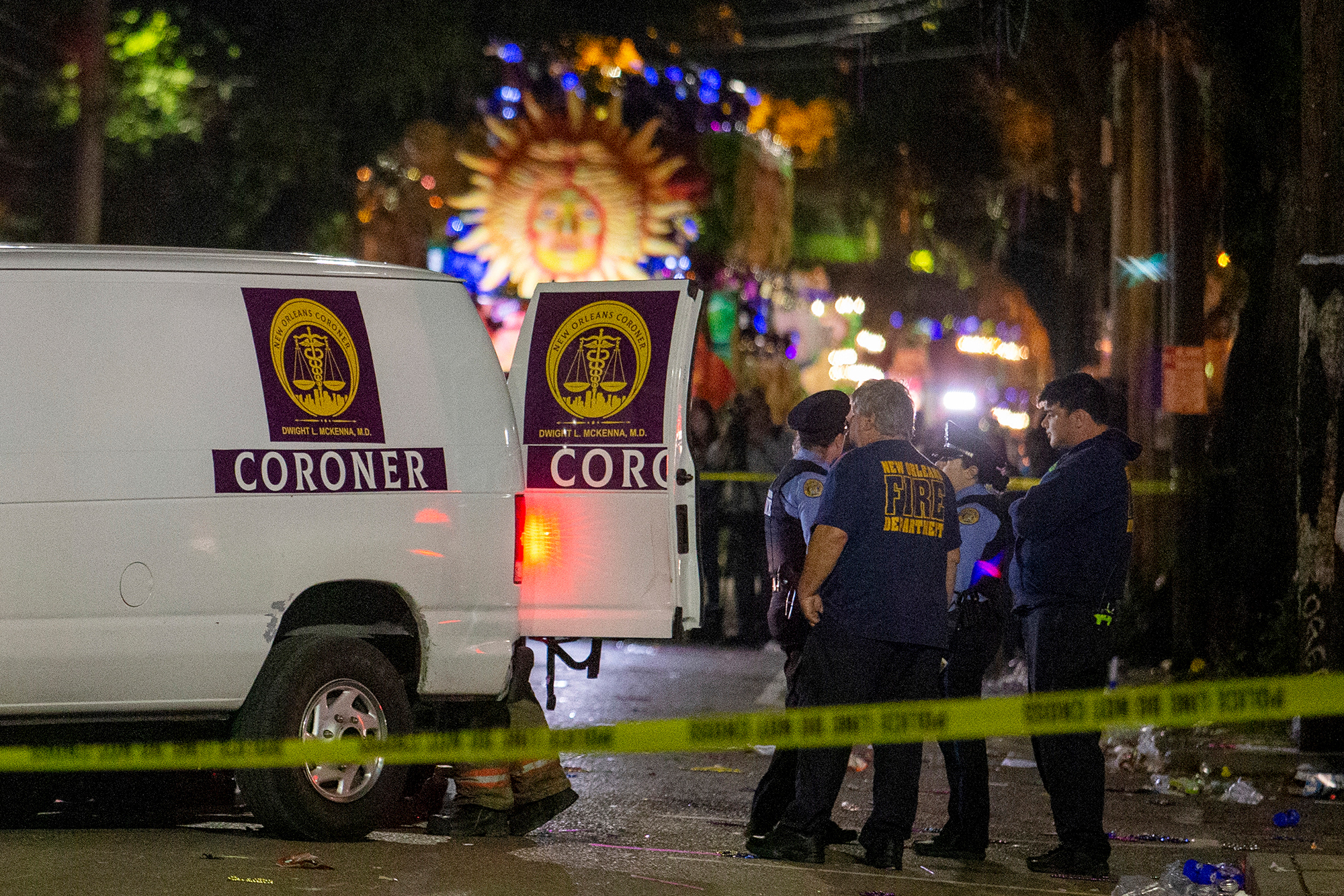 A woman died after being hit by a float in New Orleans Nyx parade