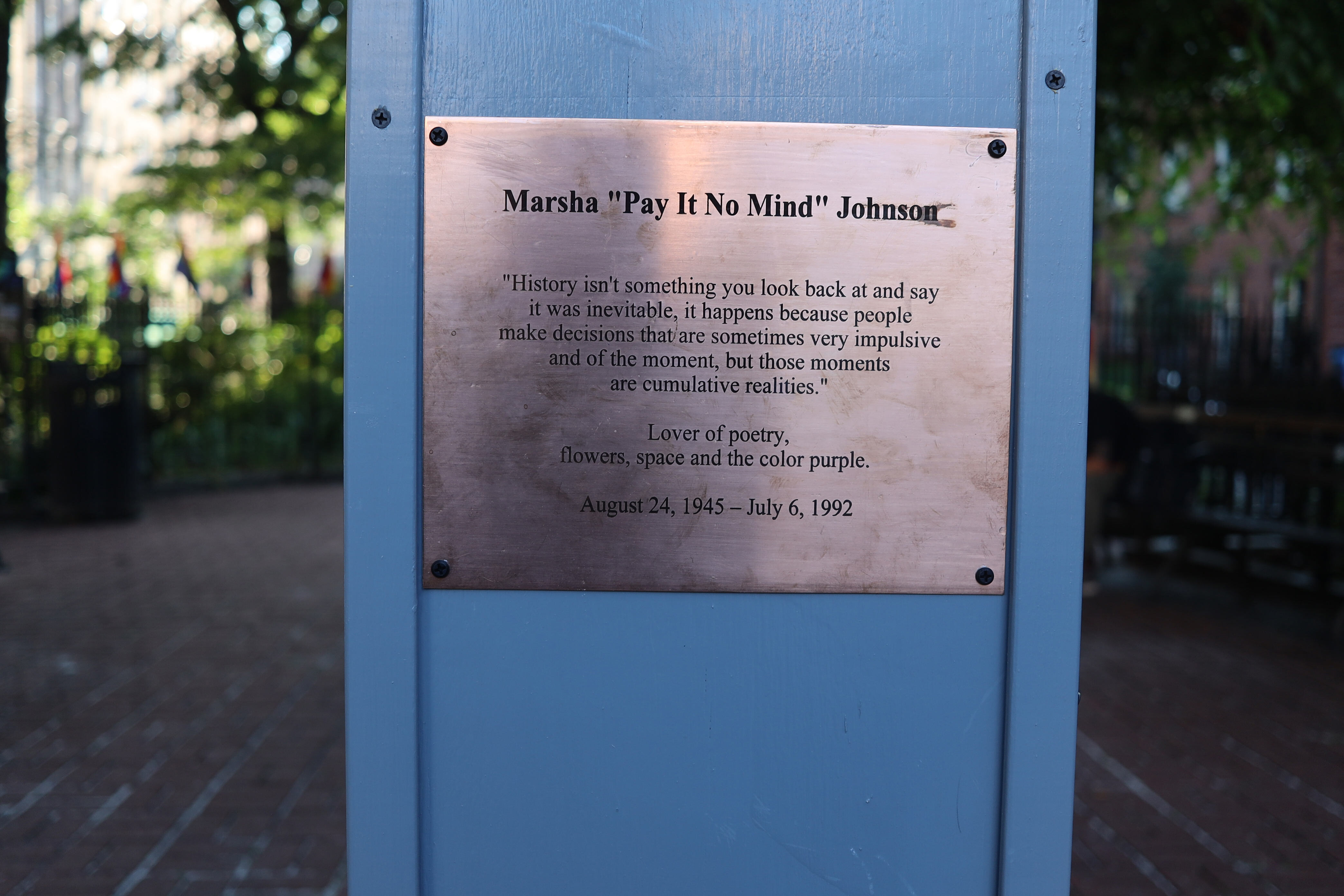 A bust of Marsha P. Johnson went up near the Stonewall Inn as a tribute to the transgender activist