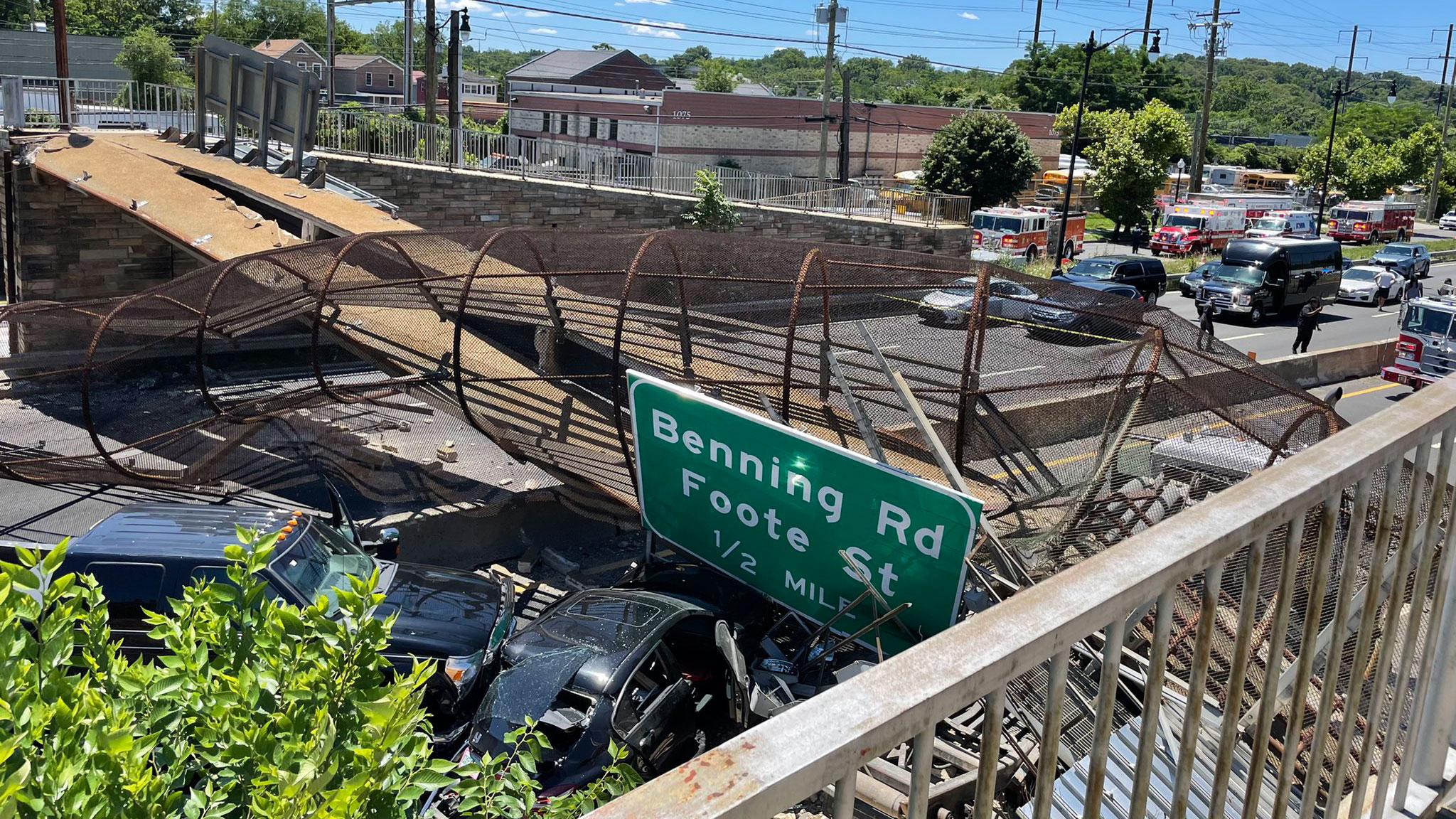 Pedestrian bridge collapses onto DC freeway, injuring several people