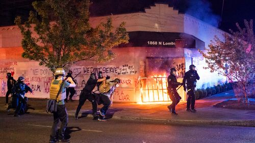 Image for Fires set at Portland police union building as protests continue