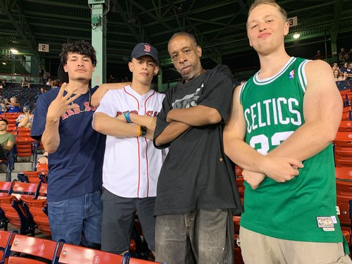Image for Red Sox fans take homeless fan out to the ballgame with their extra ticket