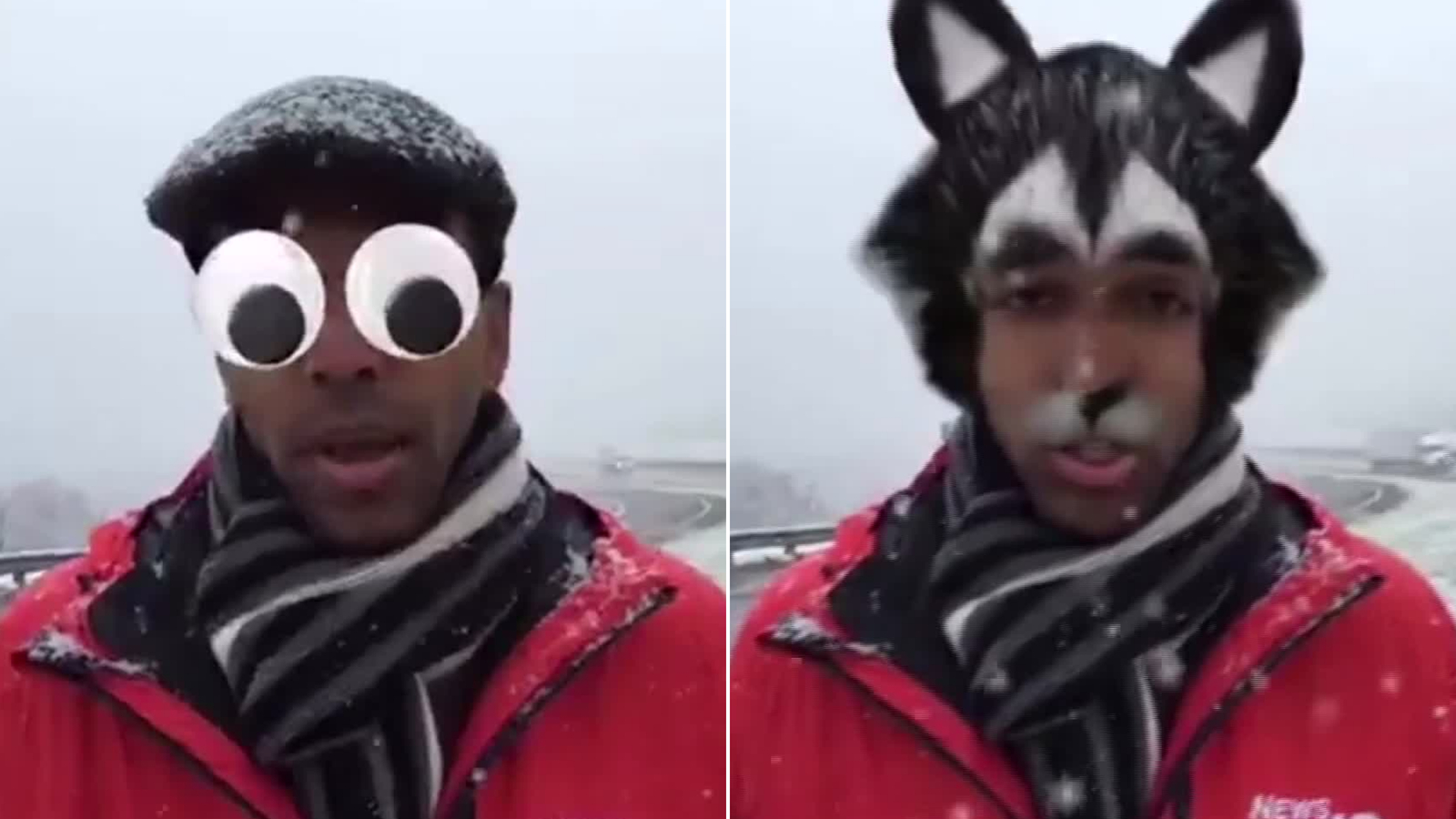 A TV reporter unknowingly gave the snow report with googly eyes after he accidentally turned on Facebook's face filters