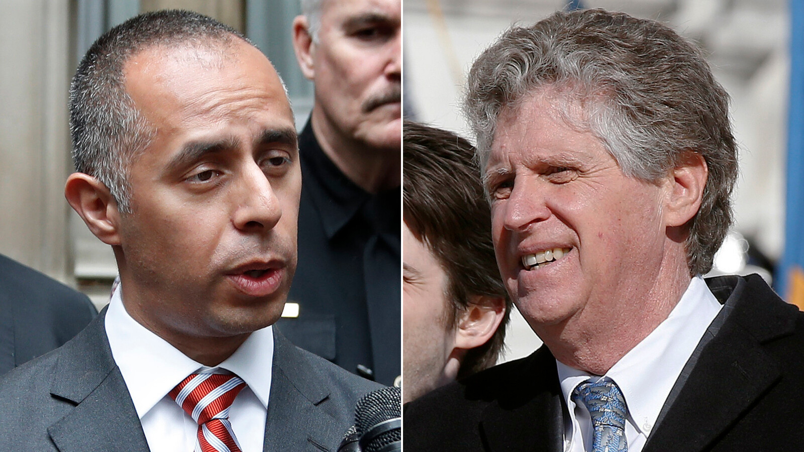 Security separates Providence mayor and Rhode Island governor during a tense confrontation