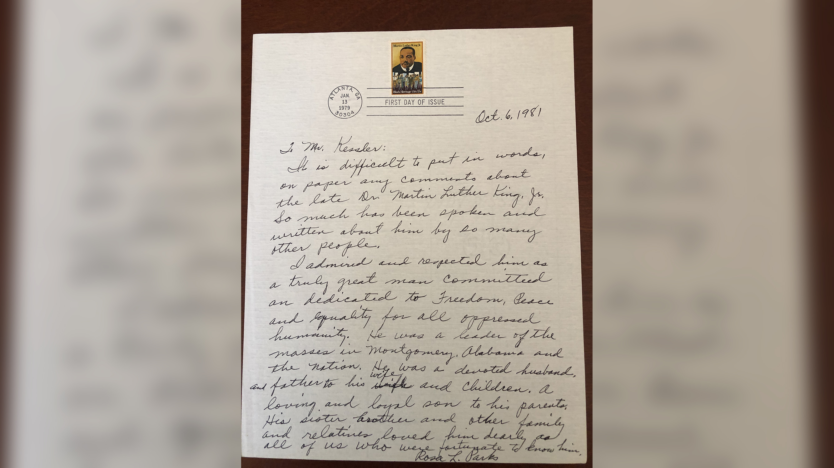 Rosa Parks's handwritten letter about Martin Luther King Jr. goes up for sale