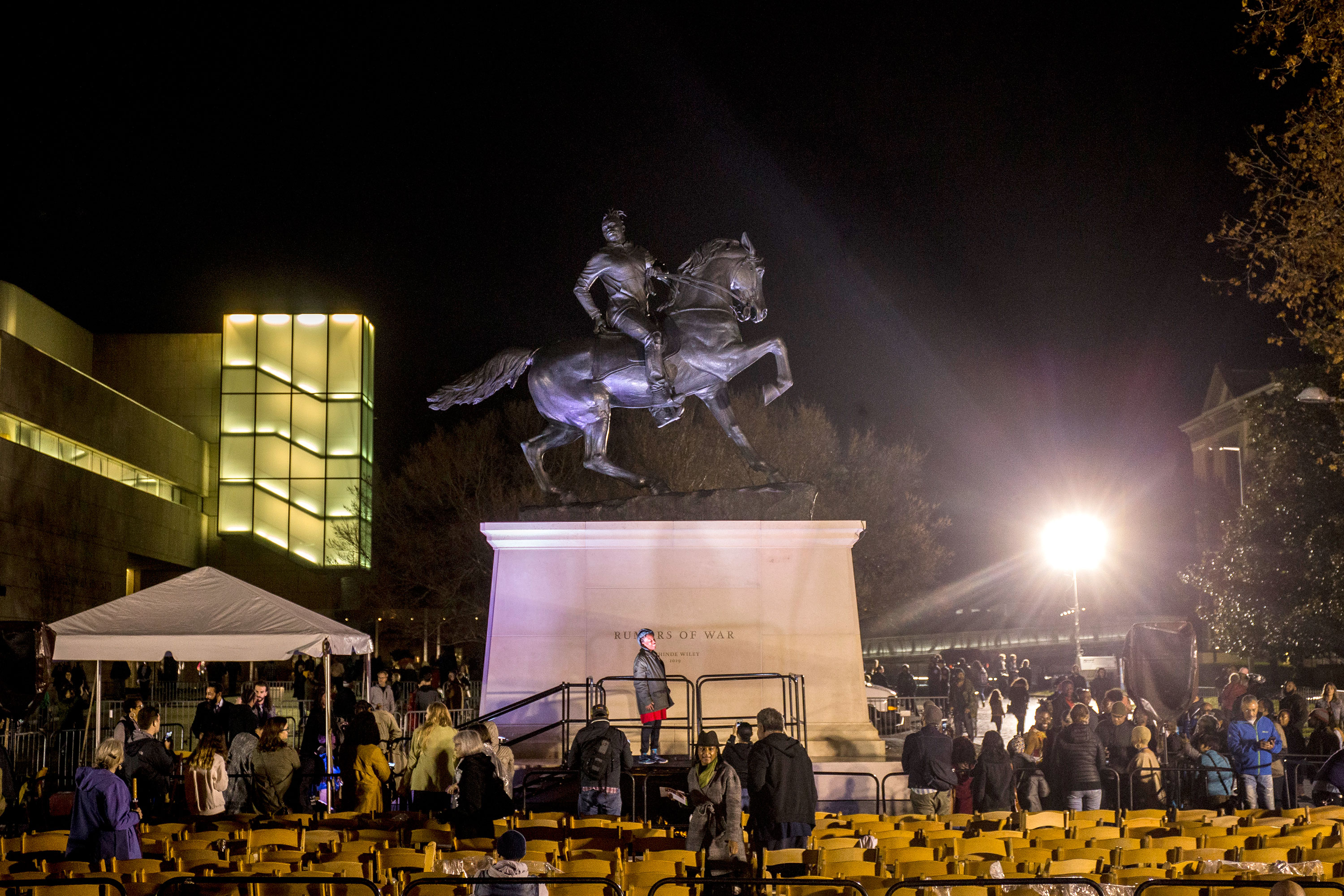 A statue of a black man on a horse has a new home in the heart of the Confederacy