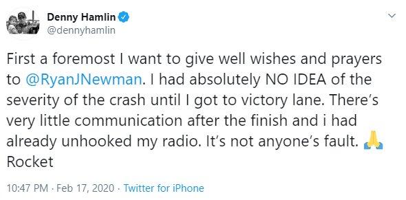 Denny Hamlin and Joe Gibbs apologize for celebrating Daytona 500 win in wake of Ryan Newman crash