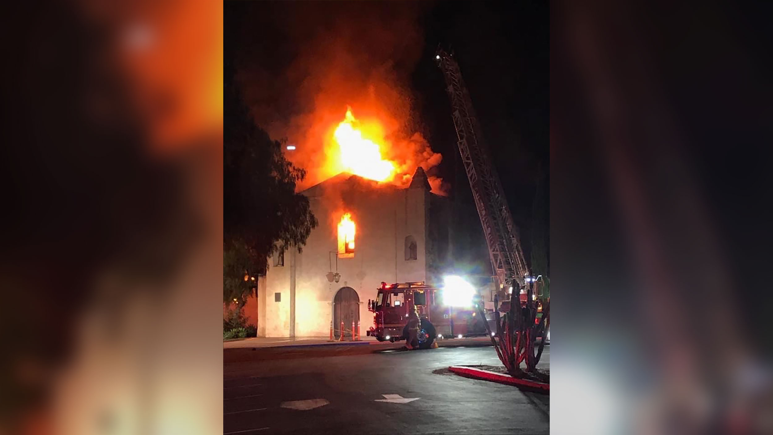 A massive fire has destroyed a 249-year-old church in California