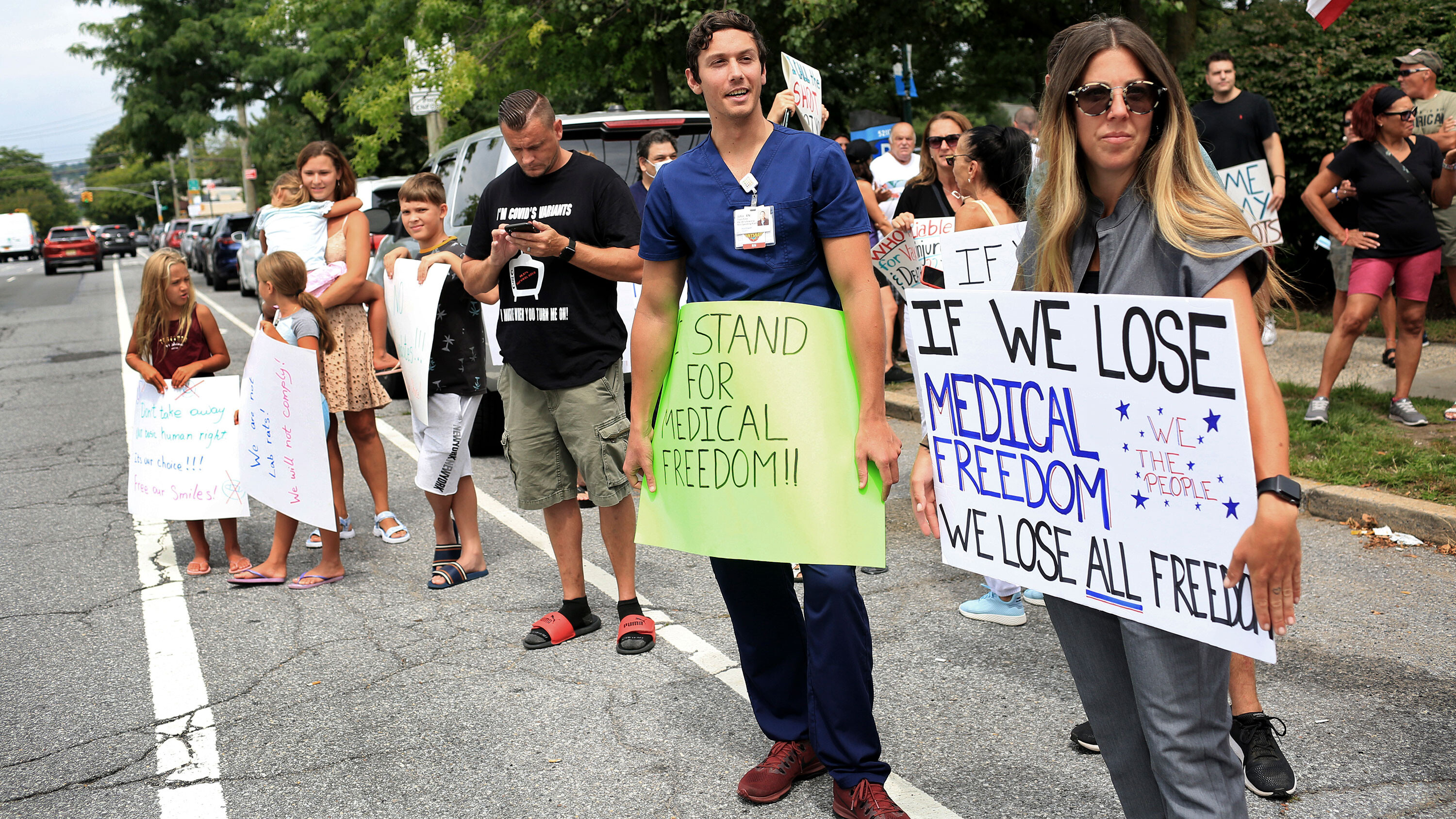 Staten Island hospital employees protest Covid-19 vaccine and testing requirements