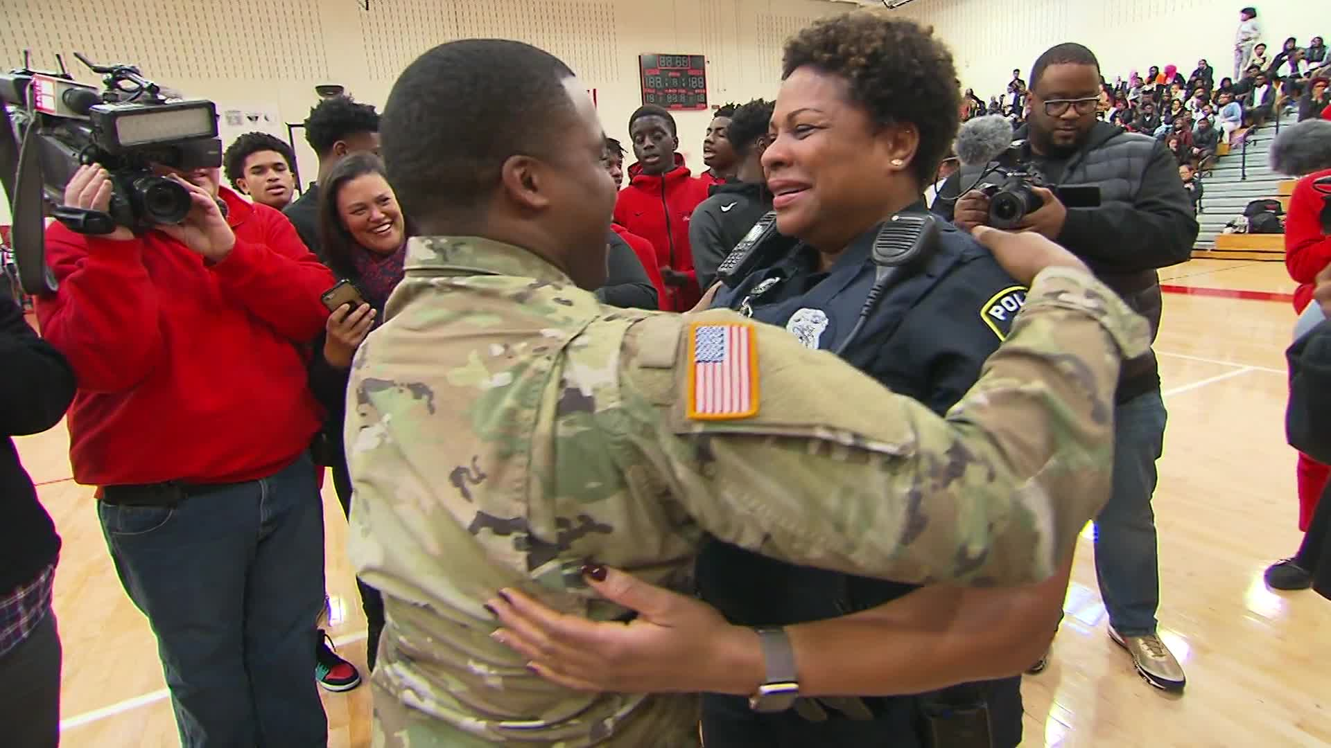 Soldier surprises his mom after being deployed for two years