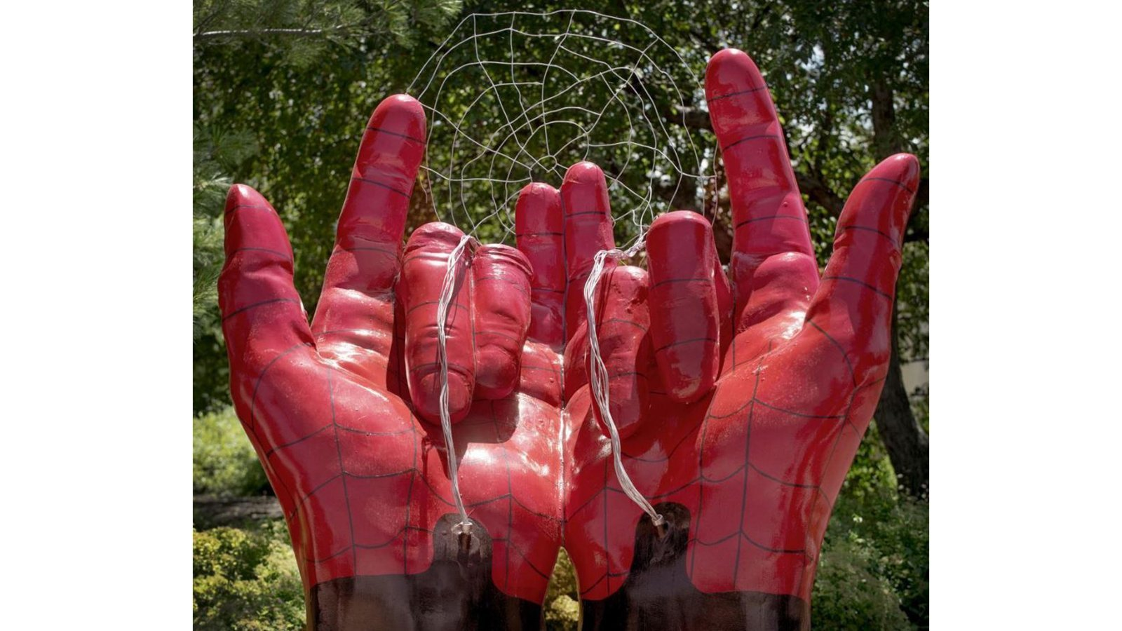 A Nebraska city explains its public art shows Spider-man's hands, not devil horns