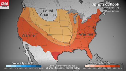 The U.S. is expected to stay warmer than average through the spring with widespread flooding, NOAA announced Thursday morning.