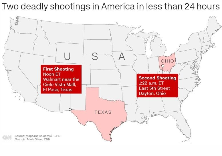 Another weekend, two more mass shootings in America