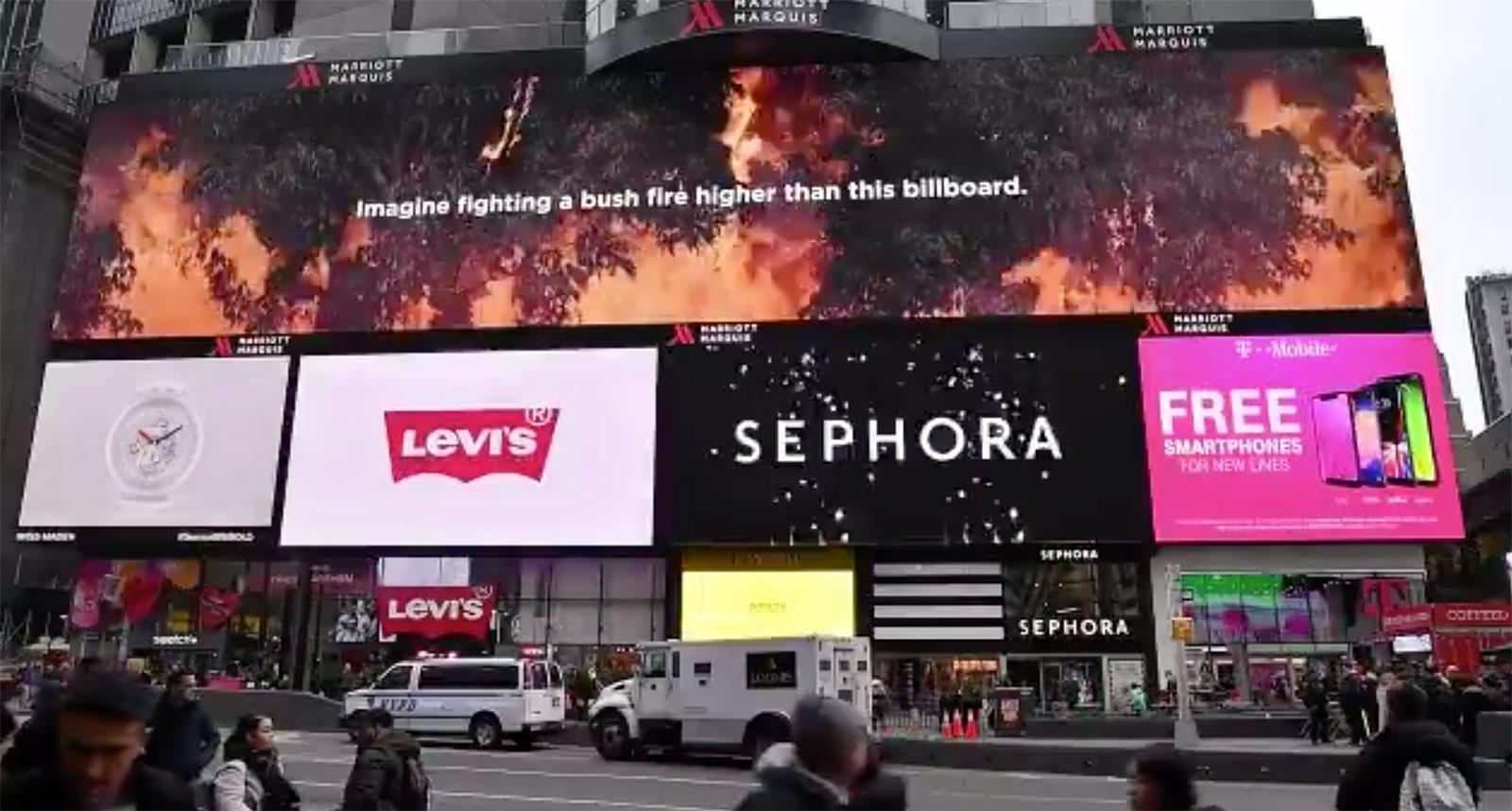 Massive Times Square billboard thanks the firefighters who battled Australia's devastating fires