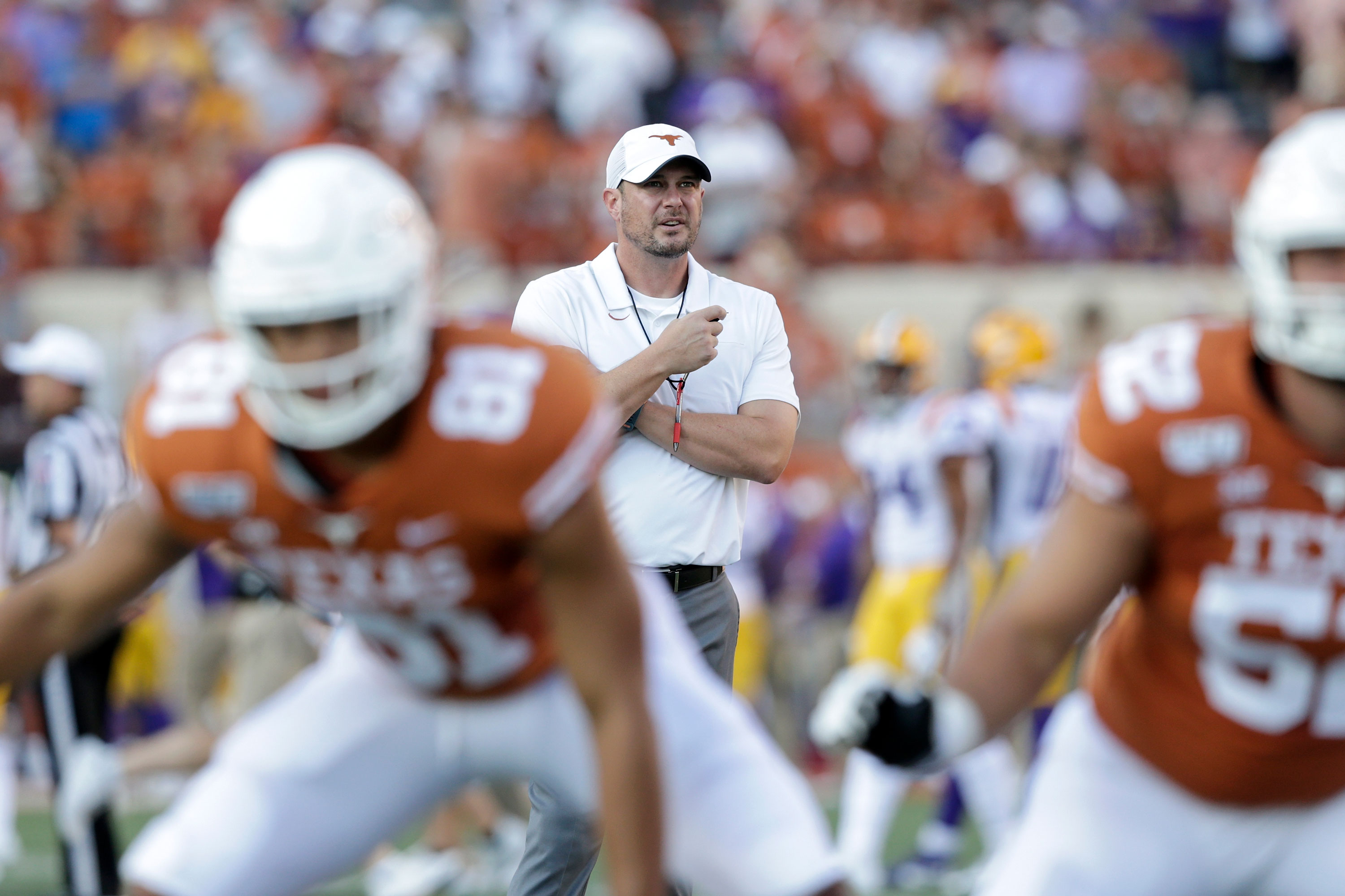 Texas football coach Tom Herman talks about the double standard he says fans have for black student-athletes