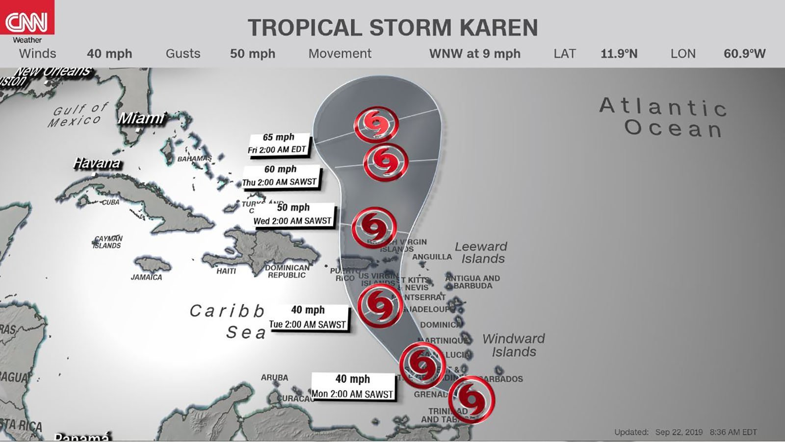 Tropical Storm Karen forms east of the Windward Islands