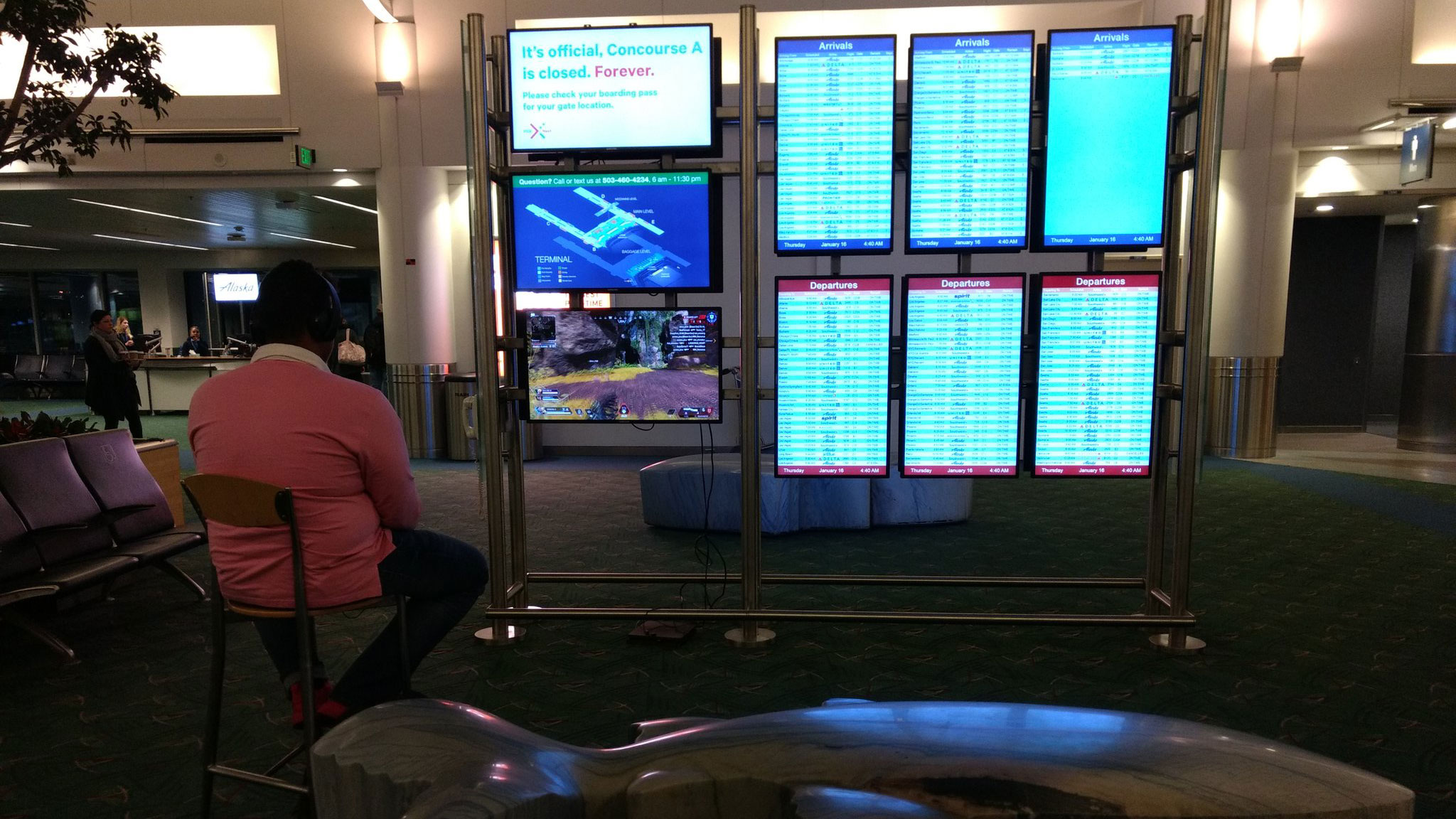 A man took over an airport monitor to play video games until officials told him 'game over'