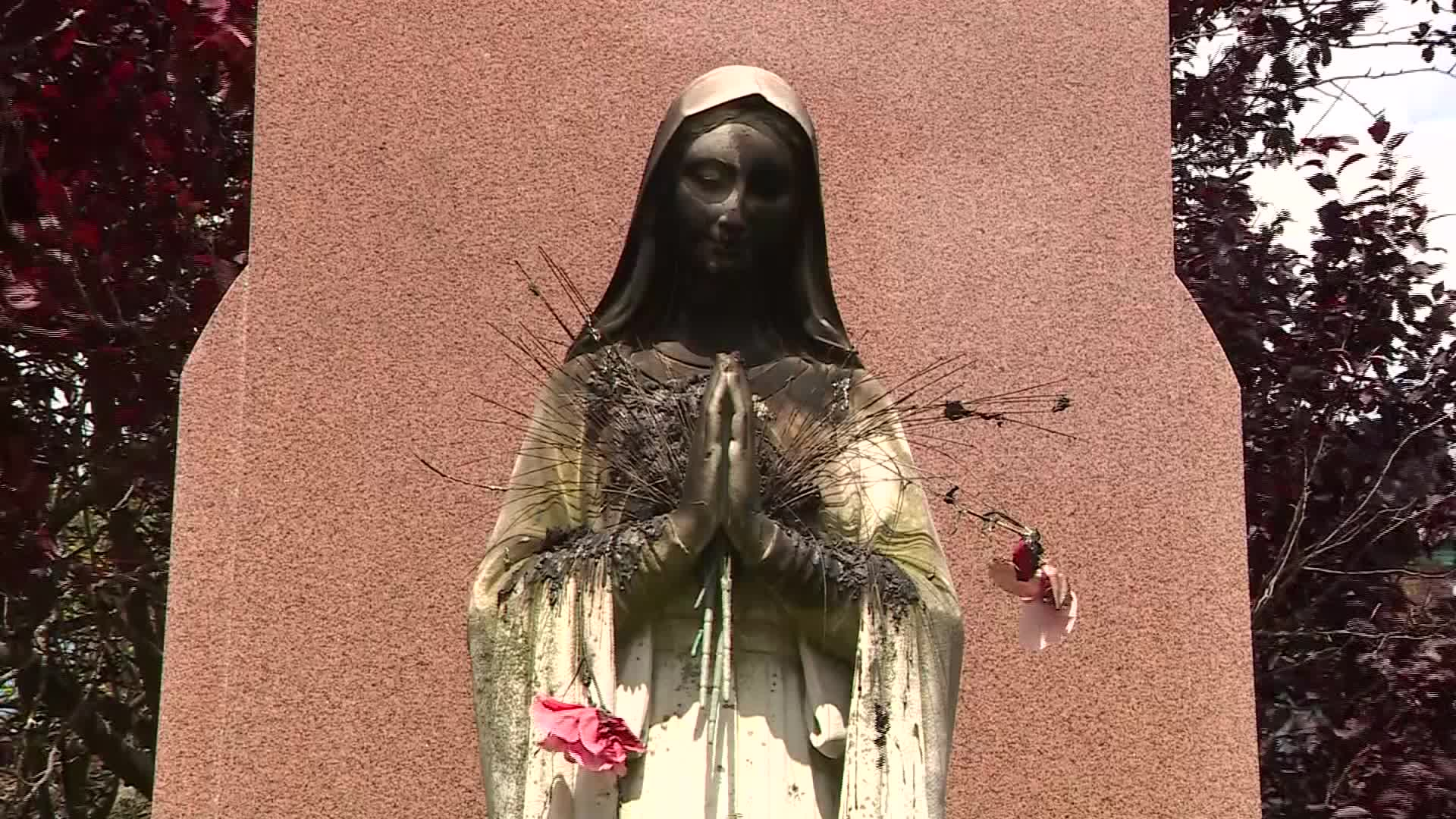 A statue of the Virgin Mary was set on fire at a Boston church