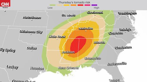 Image for A rare 'high risk' for tornadoes is issued for the South -- the second time in a week