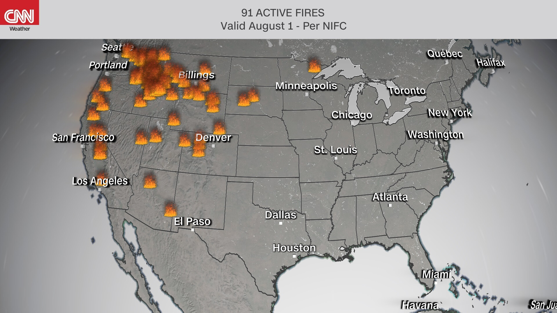 91 wildfires are now burning across the US, with Oregon's Bootleg Fire growing to over 400,000 acres