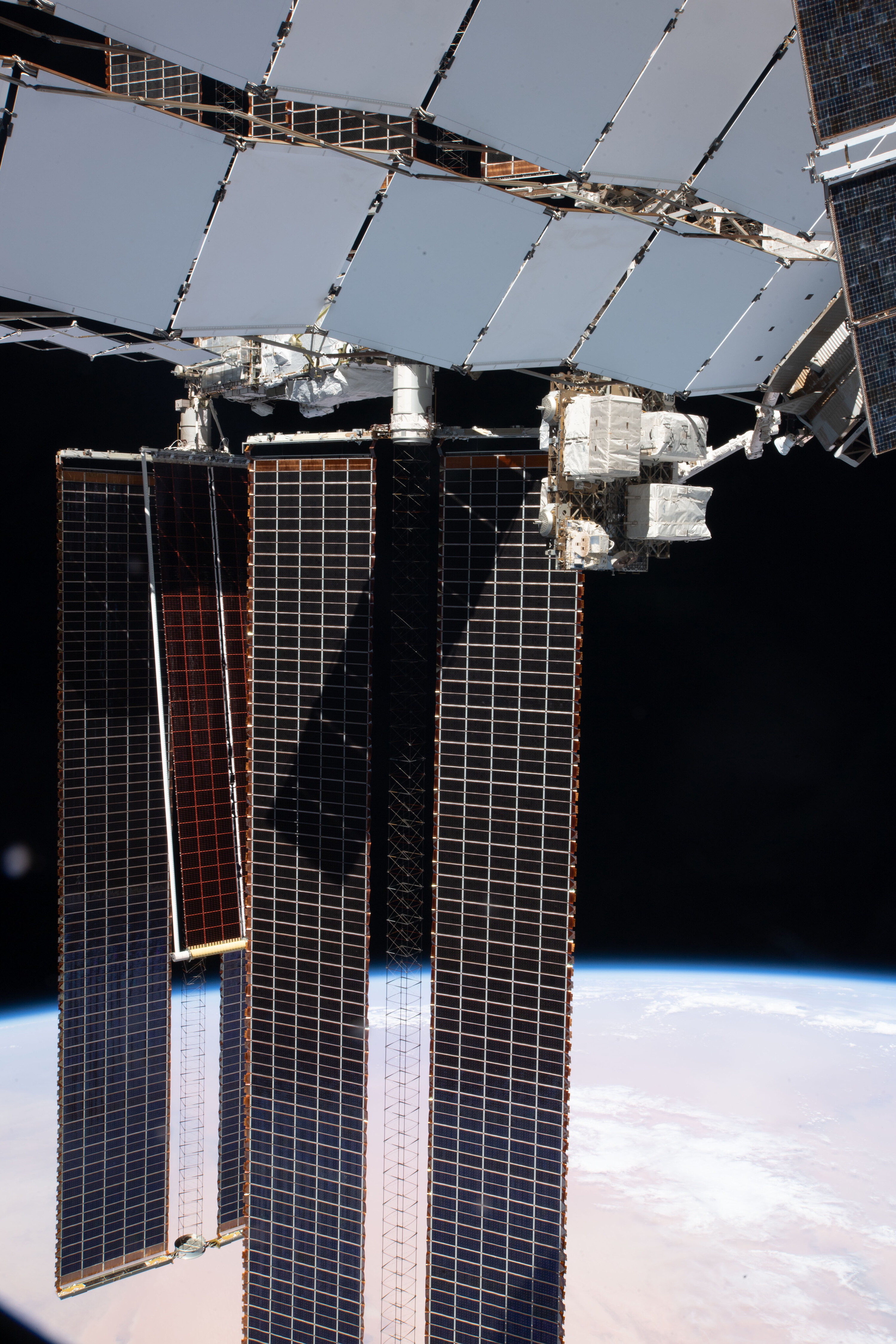 Astronauts installed a giant solar panel outside the space station