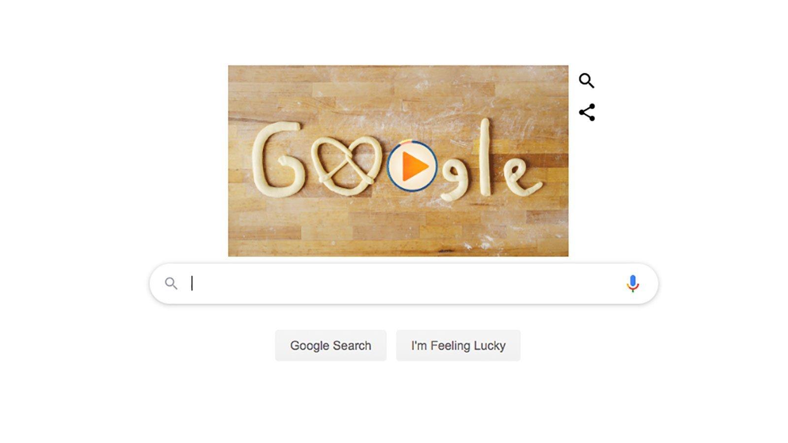Google celebrates the start of Oktoberfest with a pretzel doodle