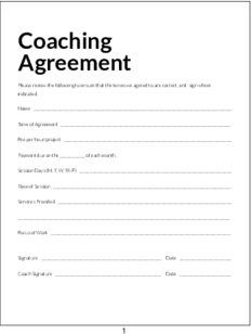 Plr contracts coaching agreement for Coaching contracts templates